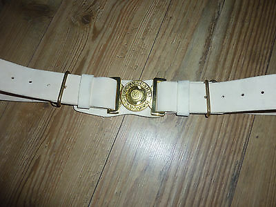 Irish Guards White Leather Ceremonial Belt With Brass Buckle British Army Issue