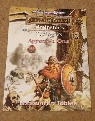 AD&D 2nd Ed Forgotten Realms Elminster's Ecologies Appendix One Encounter Tables