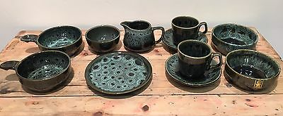 Fosters Pottery, Green Honeycomb, 11 Pieces