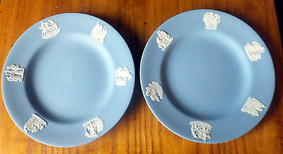 Two Wedgwood 7 cm side plates in Blue and White Jasper