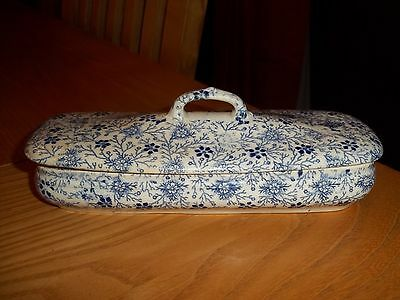 ANTIQUE 19th CENTURY BLUE AND WHITE TOILET BOX - SHEET PATTERN - UNKNOWN MAKER