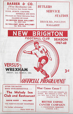 MEGA RARE New Brighton v Wrexham programme: 1967-68, with Wigan Athletic line-up