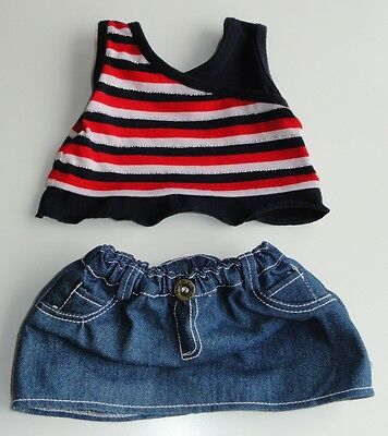 Build A Bear Clothes -  Navy Striped Tank Top and Jean Skirt