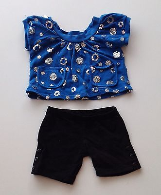 Build A Bear Clothes- Limited Blue With Sequins Top And Black Shorts