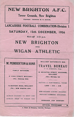MEGA RARE New Brighton v Wigan Athletic programme 1956-57 Lancashire Combination