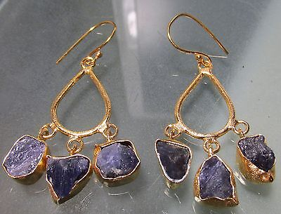14K Gold plated brass rough blue tanzanite stones earrings.