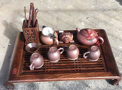 China Chinese Cherry Wood & Earthenware Tea Set Signed In Excellent Condition