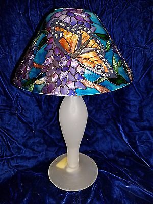 """New Joan Baker Stained Glass Monarch & Wisteria Candle Top & Frosted Base 11"""""""