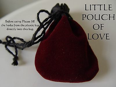 LITTLE POUCH OF LOVE - FILLED WITH HERBS & CRYSTALS Wicca Pagan Witch Goth