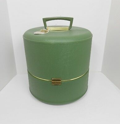 Vintage Never Used With Original Tag 1967 Avocado Green Plastic Wig Case Hat Box