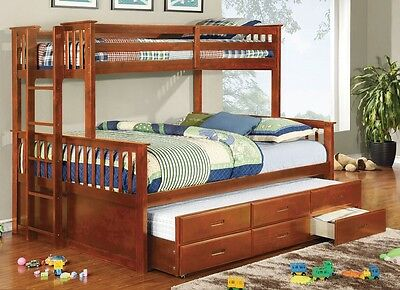 University Oak Twin over Full Size Bunk Bed Trundle & Drawers Kids Furniture