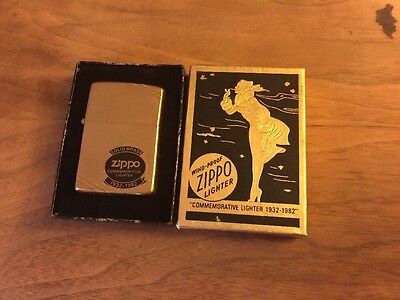 VINTAGE 50 YEAR COMMEMORATIVE 1932-1982 BRASS ZIPPO With Box Free Shipping
