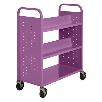"Sandusky Lee SVF336-31 Combination Bottom Flat Shelf Book Truck, 19"" Length, 39"""