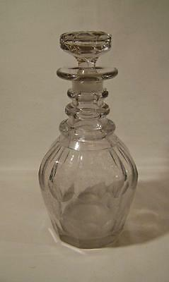 Georgian Cut Glass Decanter Mallet Shape: Triple Neck Ring : early C19th