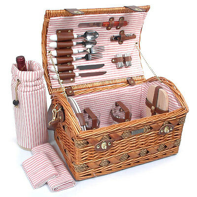 THE COUTURE GOLD DELUXE Collection BBQ Camping Willow Picnic Basket Set for 2