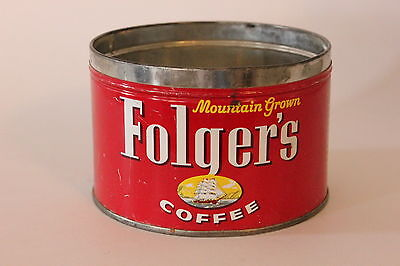 Vintage 1950's Folgers Coffee Can 1 pound Tin Metal Clipper Ship NO LID