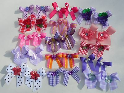 30 Fancy Dog Pet child baby Grooming Bows 2 sizes color variety Lot  # 48