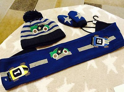 baby boys hat scarf and mitts set 5-6 years transport/racing cars from NEXT BNWT