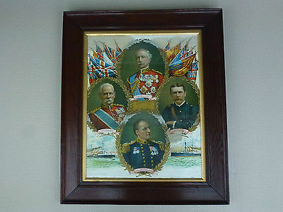 """Large Framed Print """"british Heroes"""". (1902) Prior To Ww1 (The Great War) 25""""x21"""""""