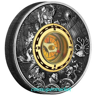 Australia Tuvalu The 2017 Compass 2oz Silver Antiqued Coin The Perth Mint OGP