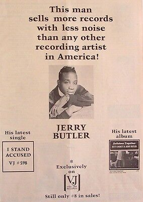 JERRY BUTLER 1964 Poster Ad I STAND ACCUSED vee-jay records