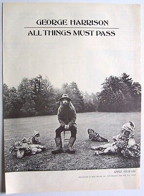 the beatles GEORGE HARRISON 1970 Poster Ad ALL THINGS MUST PASS apple records