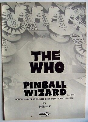 THE WHO 1969 Poster Ad PINBALL WIZARD tommy