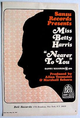 BETTY HARRIS 1967 Poster Ad NEARER TO YOU
