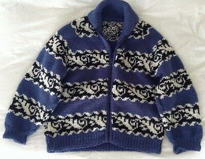 Vintage BLUE Cowichan Wool (Lebowski Style) Sweater-Excellent Condition