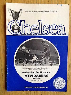 Chelsea v Atvidaberg 1971/72 European Cup Winners Cup programme