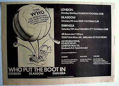 THE WHO 1976 Poster Ad PUT THE BOOT IN football concerts Celtic Charlton Swansea