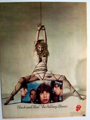 THE ROLLING STONES 1976 poster type Advert BLACK AND BLUE
