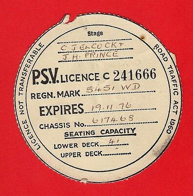 Bus PSV Licence Disc 1976 - Elcock & Prince of Telford - 5451WD - 1962 Tiger Cub