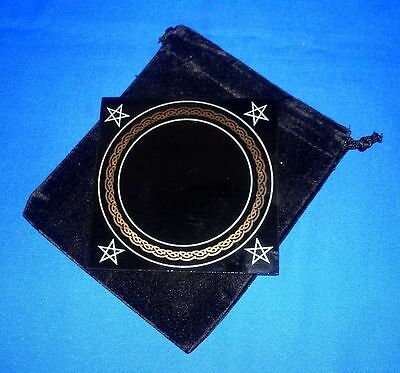 BLACK SCRYING MIRROR WITH INSTRUCTIONS & BAG 100 mm Wicca Pagan Witch Goth