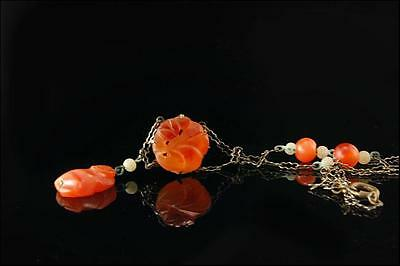 Antique Chinese Carved Monkey Carnelian Pendant Silver Necklace