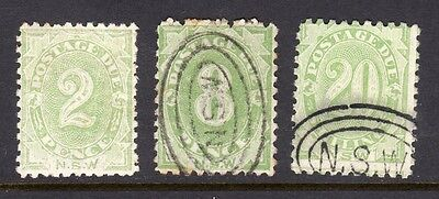 NSW Postage Dues , 2d , 8d & 20/-