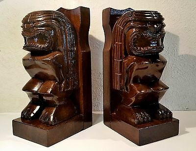 Vintage Hawaiian Tiki God Carved Wood Bookends Rich Luminous Flawless Finish