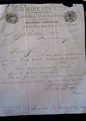 "Collectible 1881 Letter Head ""E.D. KIRKNER & CO."" Crockett's Depot,Wythe Co., VA"