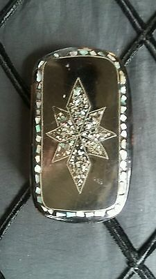 Antique Victorian Colorful MOP Inlaid Snuff Box Trinket Box Mourning Nice size