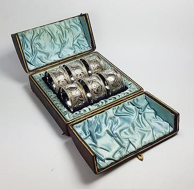 6x Victorian CASED SILVER PLATED NAPKIN RINGS c1890