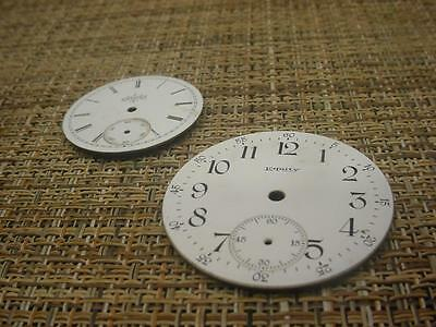 "Watchmaker 1-5/8""  Equity 1-3/8"" Elgin Seconds Bit Pocketwatch Dials E707c"