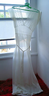 1950s WHITE full length night dress SHEER nylon nightgown VINTAGE