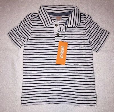 Boys Polo Shirt 18-24 Months Short Sleeve White Blue Striped Toddler Gymbore New