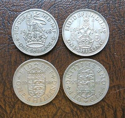 lot of four Great Britain one shilling coins, 1945, 1948, 1955, 1956