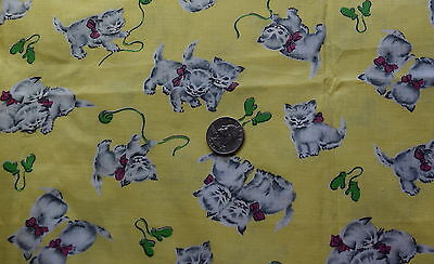 3/4 yd 1940's juvenile print cotton fabric, medium scale Kittens with Mittens