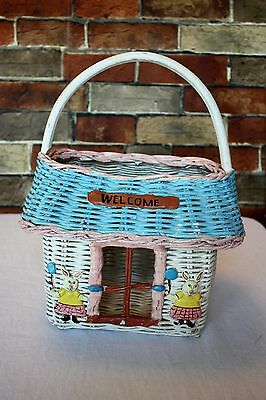 Vintage WICKER Easter Basket PAINTED LIKE A BUNNY RABBIT HOUSE Pink Blue White
