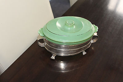 Art Deco epns a1 Silver Casserole Stand with AGEE PYREX DISH Australia