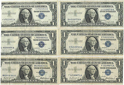 Lot of 6 US Silver Certificate 1957 one dollar bills $1. (#2)