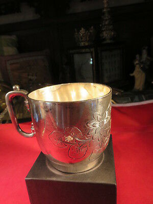 Rockford Silver Co. Quadruple Plated Silver Cup # 257 Vintage Etched Floral