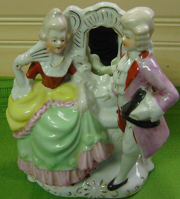 French Aristocrats Figurine Couple with Mirror Old Japan